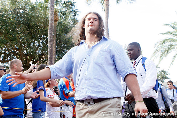 Florida redshirt junior tackle Matt Patchan greets fans before the Gators' 41-3 win against the FAU Owls on Saturday, September 3, 2011 at Ben Hill Griffin Stadium in Gainesville, Fla. / Gator Country photo by Tim Casey
