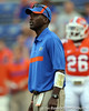 Florida receivers coach Aubrey Hill oversees warmups before the Gators' 41-3 win against the FAU Owls on Saturday, September 3, 2011 at Ben Hill Griffin Stadium in Gainesville, Fla. / Gator Country photo by Tim Casey