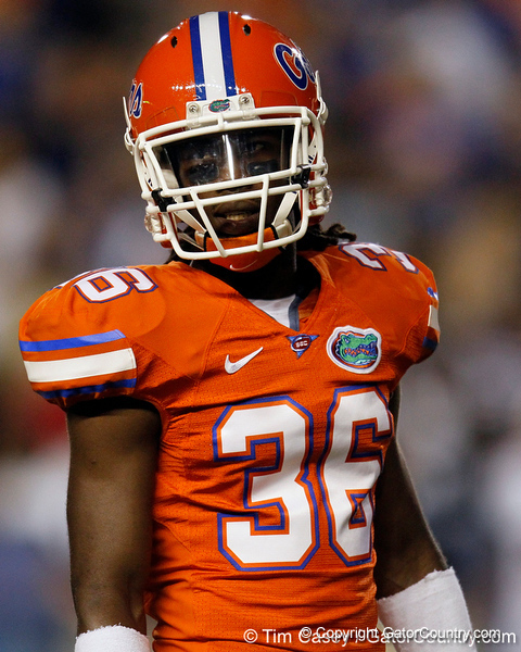 Florida redshirt senior cornerback Moses Jenkins looks to the sideline during the second quarter of the Gators' 41-3 win against the FAU Owls on Saturday, September 3, 2011 at Ben Hill Griffin Stadium in Gainesville, Fla. / Gator Country photo by Tim Casey