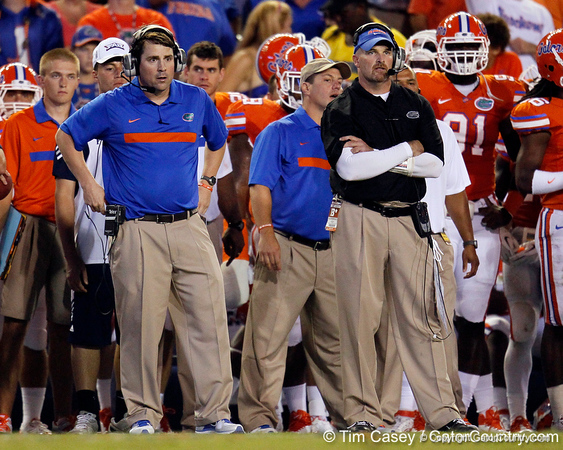 Florida head coach Will Muschamp watches from the sideline during the third quarter of the Gators' 41-3 win against the FAU Owls on Saturday, September 3, 2011 at Ben Hill Griffin Stadium in Gainesville, Fla. / Gator Country photo by Tim Casey