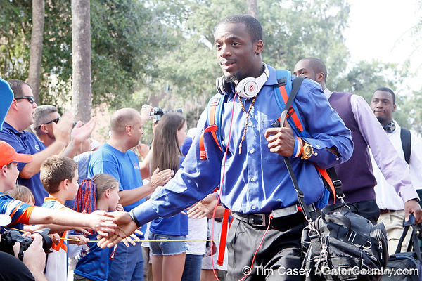 Florida redshirt junior receiver Frankie Hammond Jr. arrives before the Gators' 41-3 win against the FAU Owls on Saturday, September 3, 2011 at Ben Hill Griffin Stadium in Gainesville, Fla. / Gator Country photo by Tim Casey
