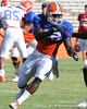 Florida redshirt junior receiver Omarius Hines runs a pass route during the Gators' practice on Wednesday, April 6, 2011 at Ben Hill Griffin Stadium. / photo courtesy of UF Communications