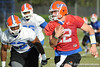 Florida sophomore sophomore Jonathan Bostic chases redshirt senior quarterback John Brantley during the Gators' practice on Wednesday, March 16, 2011 at the Sanders football practice fields. / photo courtesy of UF Communications