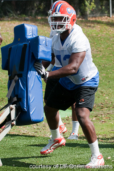 Florida redshirt sophomore linebacker Jelani Jenkins works out during the Gators' practice on Wednesday, March 16, 2011 at the Sanders football practice fields. / photo courtesy of UF Communications
