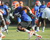 Florida redshirt freshman tackle Chaz Green blocks during the Gators' practice on Wednesday, March 16, 2011 at the Sanders football practice fields. / photo courtesy of UF Communications