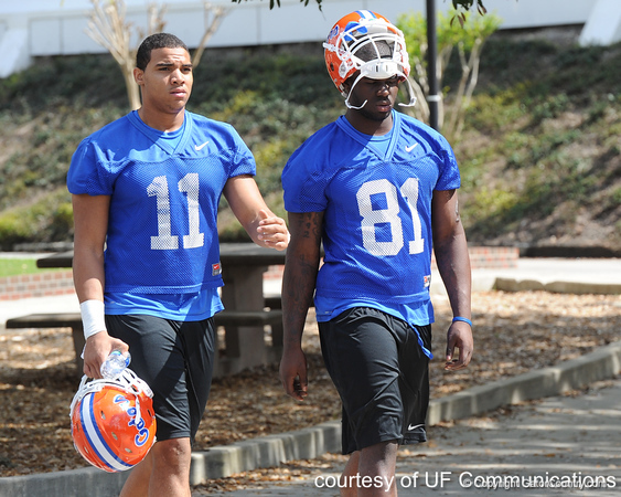 Florida redshirt sophomore tight end Jordan Reed and freshman tight end A.C. Leonard walk to the Gators' practice on Wednesday, March 16, 2011 at the Sanders football practice fields. / photo courtesy of UF Communications
