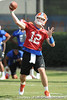 Florida redshirt senior quarterback John Brantley passes during the Gators' practice on Wednesday, March 16, 2011 at the Sanders football practice fields. / photo courtesy of UF Communications