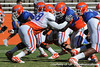 Florida sophomore defensive tackle Dominique Easley lines up during the Gators' practice on Wednesday, April 6, 2011 at Ben Hill Griffin Stadium. / photo courtesy of UF Communications