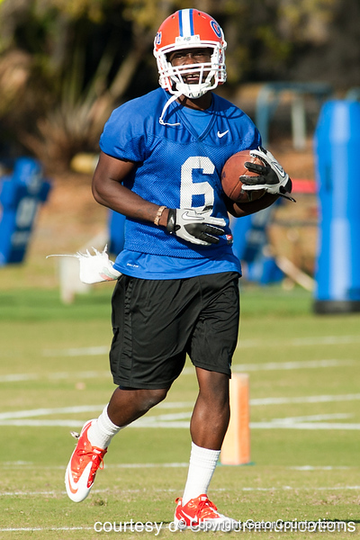 Florida redshirt senior receiver Deonte Thompson works out during the Gators' practice on Wednesday, March 16, 2011 at the Sanders football practice fields. / photo courtesy of UF Communications