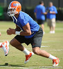 Florida redshirt sophomore tight end Jordan Reed lines up during the Gators' practice on Wednesday, March 16, 2011 at the Sanders football practice fields. / photo courtesy of UF Communications