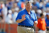 Florida offensive coordinator/quarterbacks coach Charlie Weis oversees warmups before the Gators' spring football game on Saturday, April 9, 2011 at Ben Hill Griffin Stadium in Gainesville, Fla. / Gator Country photo by Tim Casey
