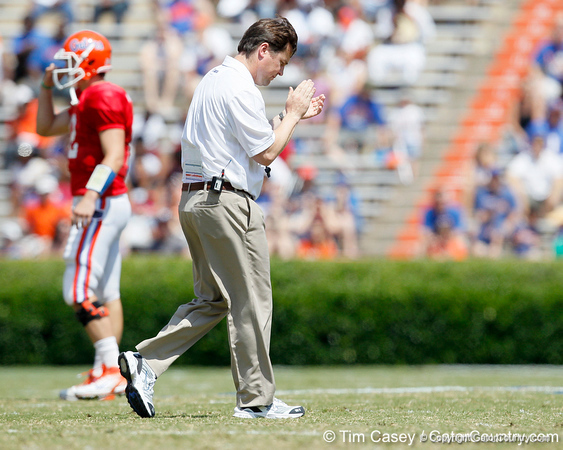 Florida head coach Will Muschamp applauds a play during the Gators' spring football game on Saturday, April 9, 2011 at Ben Hill Griffin Stadium in Gainesville, Fla. / Gator Country photo by Tim Casey