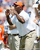 Florida defensive line coach Bryant Young shouts to players during the Gators' spring football game on Saturday, April 9, 2011 at Ben Hill Griffin Stadium in Gainesville, Fla. / Gator Country photo by Tim Casey