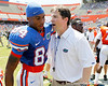 Florida sophomore receiver Quinton Dunbar talks with head coach Will Muschamp after the Gators' spring football game on Saturday, April 9, 2011 at Ben Hill Griffin Stadium in Gainesville, Fla. / Gator Country photo by Tim Casey