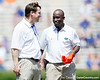 Florida head coach Will Muschamp talks with defensive backs coach Travaris Robinson during the Gators' spring football game on Saturday, April 9, 2011 at Ben Hill Griffin Stadium in Gainesville, Fla. / Gator Country photo by Tim Casey