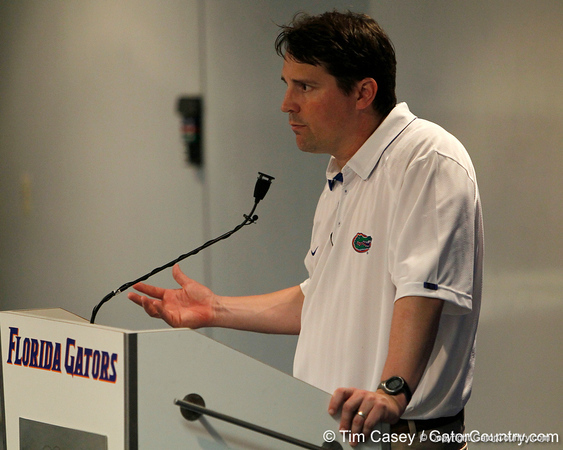 Florida head coach Will Muschamp speaks to reporters after the Gators' spring football game on Saturday, April 9, 2011 at Ben Hill Griffin Stadium in Gainesville, Fla. / Gator Country photo by Tim Casey