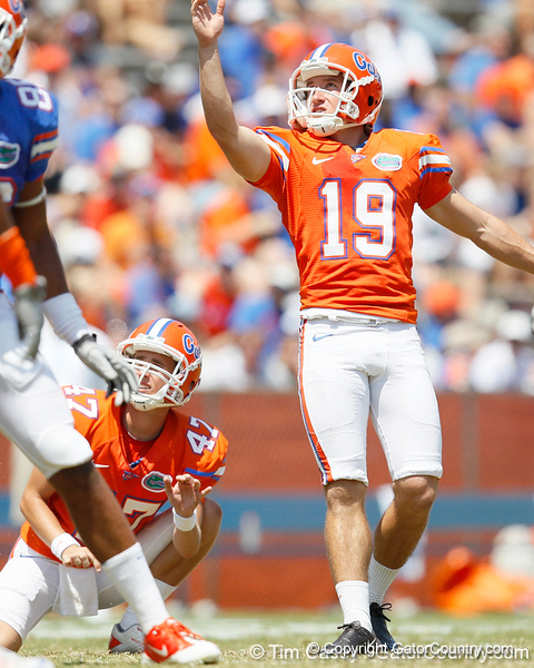 Florida senior kicker Caleb Sturgis kicks a 33-yard field goal during the Gators' spring football game on Saturday, April 9, 2011 at Ben Hill Griffin Stadium in Gainesville, Fla. / Gator Country photo by Tim Casey