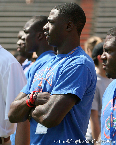 Melbourne (Holy Trinity Episcopal) Marcus Maye defensive back watches warmups before the Gators' spring football game on Saturday, April 9, 2011 at Ben Hill Griffin Stadium in Gainesville, Fla. / Gator Country photo by Tim Casey