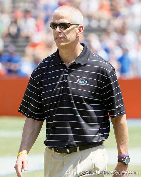 Florida athletics director Jeremy Foley walks across the field during the Gators' spring football game on Saturday, April 9, 2011 at Ben Hill Griffin Stadium in Gainesville, Fla. / Gator Country photo by Tim Casey