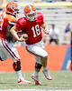 Florida freshman quarterback Jeff Driskel runs upfield during the Gators' spring football game on Saturday, April 9, 2011 at Ben Hill Griffin Stadium in Gainesville, Fla. / Gator Country photo by Tim Casey
