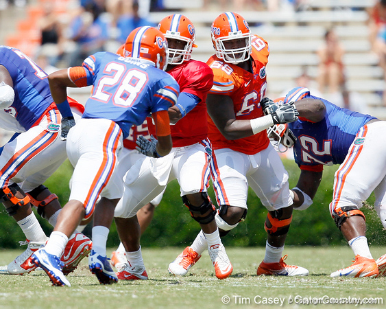 Florida freshman defensive tackle Leon Orr breaks through the line during the Gators' spring football game on Saturday, April 9, 2011 at Ben Hill Griffin Stadium in Gainesville, Fla. / Gator Country photo by Tim Casey