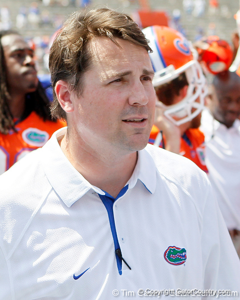 Florida head coach Will Muschamp sings the alma mater after the Gators' spring football game on Saturday, April 9, 2011 at Ben Hill Griffin Stadium in Gainesville, Fla. / Gator Country photo by Tim Casey