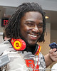 Florida sophomore linebacker/defensive end Ronald Powell talks to reporters after the Gators' spring football game on Saturday, April 9, 2011 at Ben Hill Griffin Stadium in Gainesville, Fla. / Gator Country photo by Tim Casey