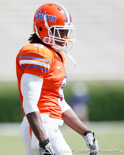 Florida sophomore safety Joshua Shaw warms up before the Gators' spring football game on Saturday, April 9, 2011 at Ben Hill Griffin Stadium in Gainesville, Fla. / Gator Country photo by Tim Casey