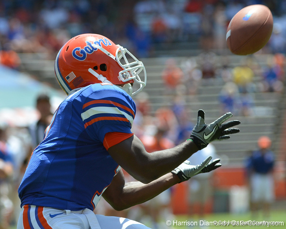 UF wide receiver Robert Clark reaches out to catch a touchdown pass from quarterback Christian Provancha during the fourth quarter of the 2011 Orange and Blue Debut at Ben Hill Griffin Stadium on Saturday, April 9, 2011. / Gator Country photo by Harrison Diamond