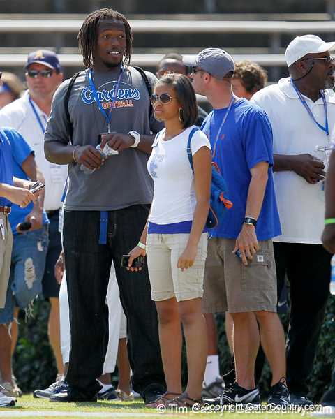 Palm Beach Gardens (Palm Beach Gardens HS) offensive tackle Avery Young watches warmups before the Gators' spring football game on Saturday, April 9, 2011 at Ben Hill Griffin Stadium in Gainesville, Fla. / Gator Country photo by Tim Casey