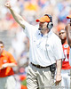 Florida defensive coordinator/defensive line coach Dan Quinn signals to the field during the Gators' spring football game on Saturday, April 9, 2011 at Ben Hill Griffin Stadium in Gainesville, Fla. / Gator Country photo by Tim Casey