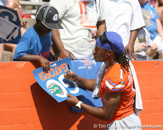 Florida senior cornerback Janoris Jenkins signs an autograph before the Gators' spring football game on Saturday, April 9, 2011 at Ben Hill Griffin Stadium in Gainesville, Fla. / Gator Country photo by Tim Casey