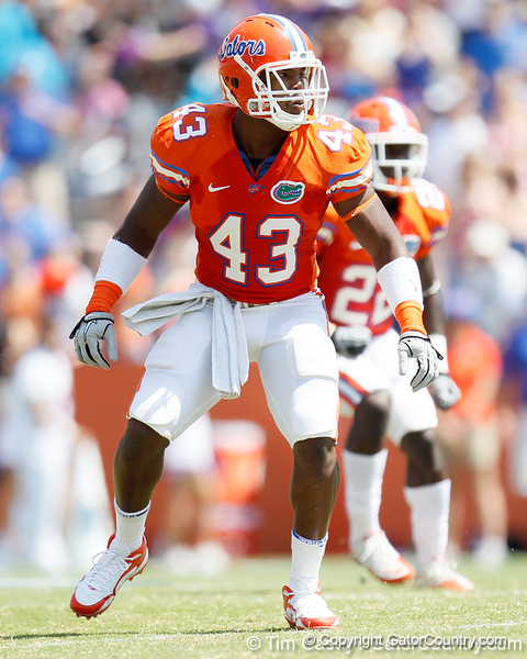 Florida redshirt sophomore linebacker Jelani Jenkins lines up during the Gators' spring football game on Saturday, April 9, 2011 at Ben Hill Griffin Stadium in Gainesville, Fla. / Gator Country photo by Tim Casey
