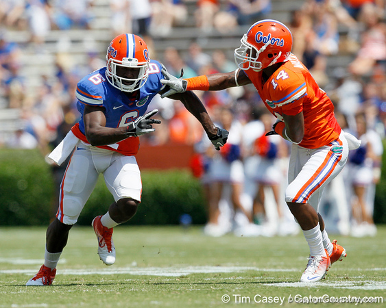Florida redshirt senior receiver Deonte Thompson runs a pass route during the Gators' spring football game on Saturday, April 9, 2011 at Ben Hill Griffin Stadium in Gainesville, Fla. / Gator Country photo by Tim Casey