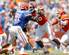 Florida senior defensive end William Green gets blocked by freshman tight end A.C. Leonard during the Gators' spring football game on Saturday, April 9, 2011 at Ben Hill Griffin Stadium in Gainesville, Fla. / Gator Country photo by Tim Casey