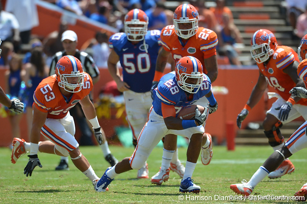 UF running back Deandre Goins runs with the ball while defenders close in during the 2011 Orange and Blue Debut at Ben Hill Griffin Stadium on Saturday, April 9, 2011. / Gator Country photo by Harrison Diamond