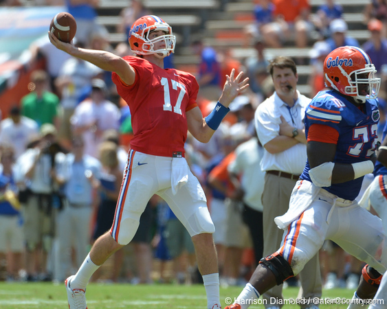 UF backup quarterback Christian Provancha throws a deep pass that was broken up during the 2011 Orange and Blue Debut at Ben Hill Griffin Stadium on Saturday, April 9, 2011. / Gator Country photo by Harrison Diamond