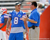 Florida sophomore running back Trey Burton talks with running backs coach Brian White before the Gators' spring football game on Saturday, April 9, 2011 at Ben Hill Griffin Stadium in Gainesville, Fla. / Gator Country photo by Tim Casey