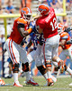 Florida sophomore defensive tackle Sharrif Floyd rushes redshirt senior quarterback John Brantley during the Gators' spring football game on Saturday, April 9, 2011 at Ben Hill Griffin Stadium in Gainesville, Fla. / Gator Country photo by Tim Casey