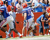 Florida sophomore running back Ben Sams scores on a 10-yard touchdown reception from redshirt freshman quarterback Tyler Murphy during the Gators' spring football game on Saturday, April 9, 2011 at Ben Hill Griffin Stadium in Gainesville, Fla. / Gator Country photo by Tim Casey
