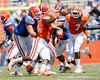 Florida sophomore linebacker/defensive end Ronald Powell pressures redshirt senior quarterback John Brantley during the Gators' spring football game on Saturday, April 9, 2011 at Ben Hill Griffin Stadium in Gainesville, Fla. / Gator Country photo by Tim Casey