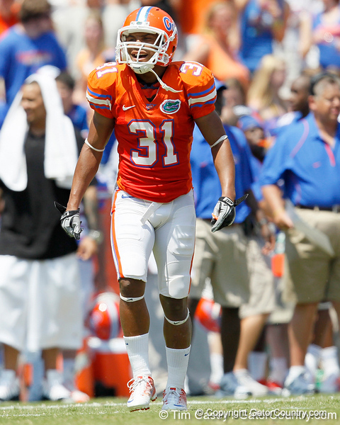 Florida sophomore cornerback Cody Riggs celebrates during the Gators' spring football game on Saturday, April 9, 2011 at Ben Hill Griffin Stadium in Gainesville, Fla. / Gator Country photo by Tim Casey