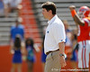 Florida head coach Will Muschamp oversees warmups before the Gators' spring football game on Saturday, April 9, 2011 at Ben Hill Griffin Stadium in Gainesville, Fla. / Gator Country photo by Tim Casey