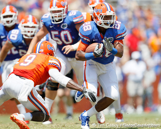 Florida sophomore running back Deandre Goins runs for a 19-yard gain to the 16-yard line during the Gators' spring football game on Saturday, April 9, 2011 at Ben Hill Griffin Stadium in Gainesville, Fla. / Gator Country photo by Tim Casey