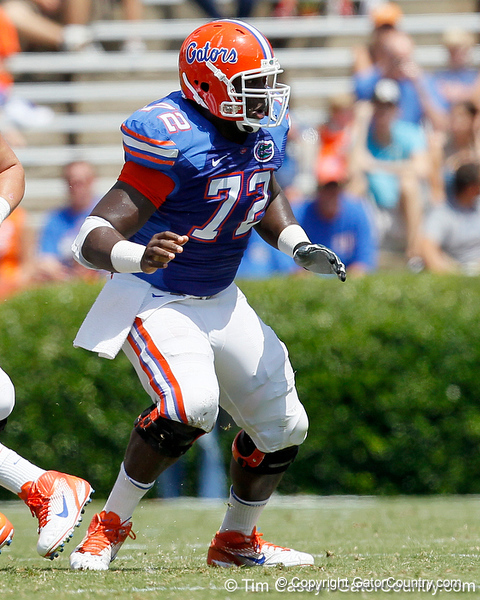 Florida redshirt sophomore guard Jonotthan Harrison blocks during the Gators' spring football game on Saturday, April 9, 2011 at Ben Hill Griffin Stadium in Gainesville, Fla. / Gator Country photo by Tim Casey