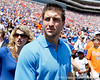 Tim Tebow looks around the stadium during the Gators' spring football game on Saturday, April 9, 2011 at Ben Hill Griffin Stadium in Gainesville, Fla. / Gator Country photo by Tim Casey