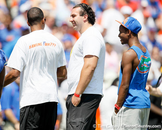 Members of Florida's national championship men's indoor track team are recognized during the Gators' spring football game on Saturday, April 9, 2011 at Ben Hill Griffin Stadium in Gainesville, Fla. / Gator Country photo by Tim Casey