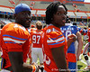 Florida junior linebacker Dee Finley and sophomore linebacker Neiron Ball celebrate after the Gators' spring football game on Saturday, April 9, 2011 at Ben Hill Griffin Stadium in Gainesville, Fla. / Gator Country photo by Tim Casey