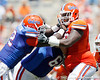 Florida freshman defensive tackle Leon Orr rushes the quarterback during the Gators' spring football game on Saturday, April 9, 2011 at Ben Hill Griffin Stadium in Gainesville, Fla. / Gator Country photo by Tim Casey