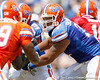 Florida sophomore tackle Ian Silberman blocks during the Gators' spring football game on Saturday, April 9, 2011 at Ben Hill Griffin Stadium in Gainesville, Fla. / Gator Country photo by Tim Casey